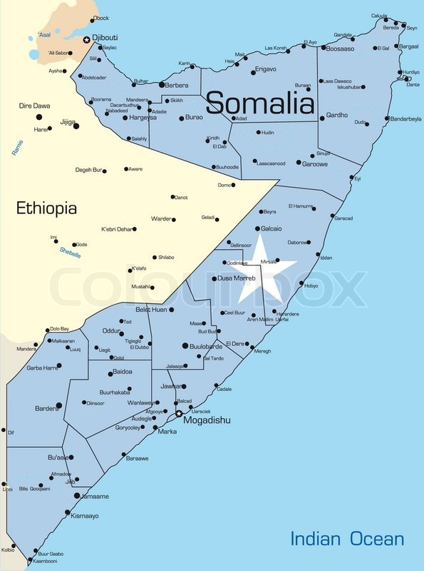 Abstract vector color map of Somalia colored by national flag