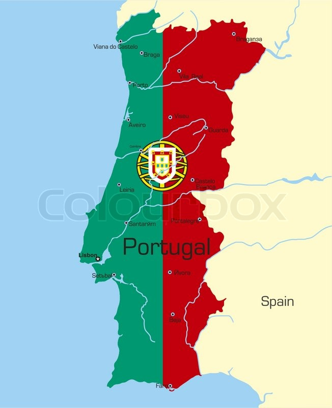 Abstract Vector Color Map Of Portugal Stock Vector Colourbox