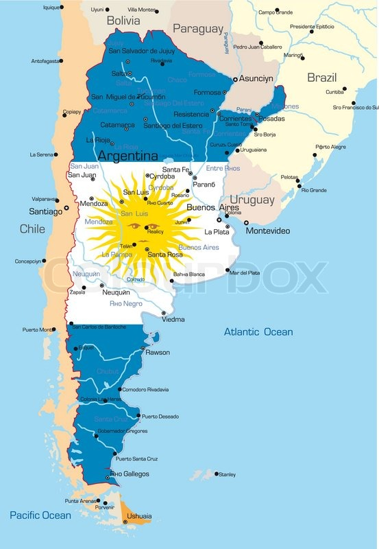Abstract Vector Color Map Of Argentina Country Colored By National - Argentina map of country