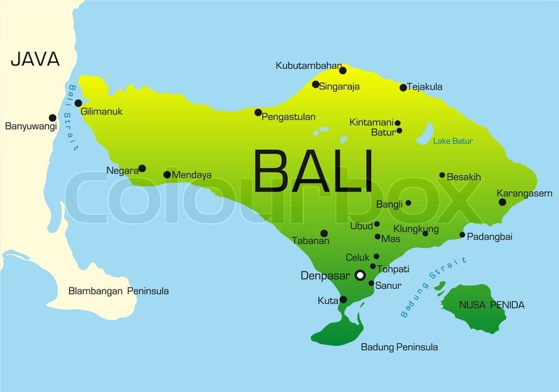 Vector Map Of Bali Country Colored By Stock Vector Colourbox
