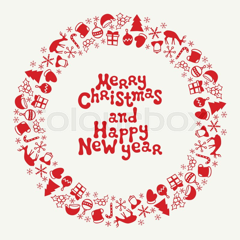 Merry Christmas and Happy New Year lettering greeting card 2017 ...