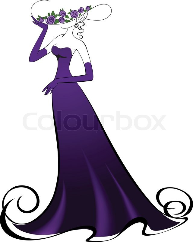 Woman In Gloves And An Elegant Long Purple Dress Stock