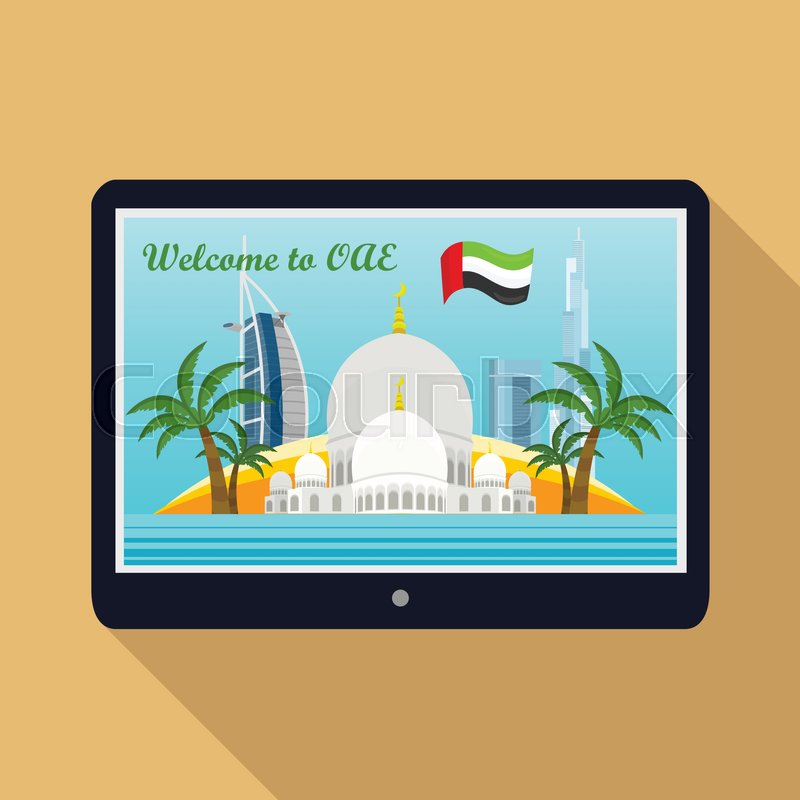 United Arab Emirates traveling banner. Landscape with arabic landmarks on tablet screen. Skyscrapers. Grand Mosques. Nature and architecture. Part of series of travelling around the world. Vector, vector