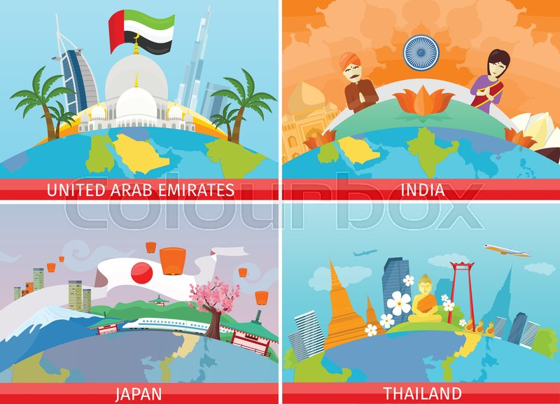 Welcome to Japan, Thailand, India, United Arab Emirates. Set of traveling advertisement banners. Landmarks of the well known asian places of interest on your photo. Vector illustration, vector