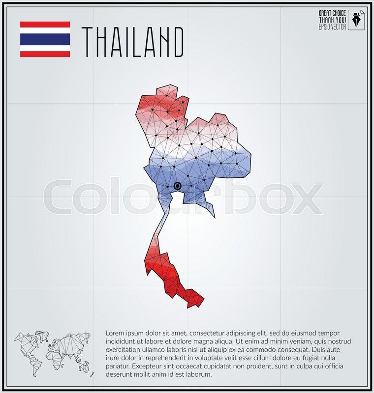 Thailand map in geometric polygonal style polygonal abstract world thailand map in geometric polygonal style polygonal abstract world map vector illustration thailand flag bangkok or krungthep pointer gumiabroncs Images