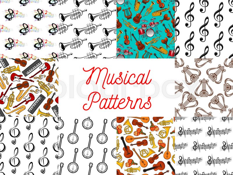 Music Seamless Patterns Set With Musical Notes String Wind