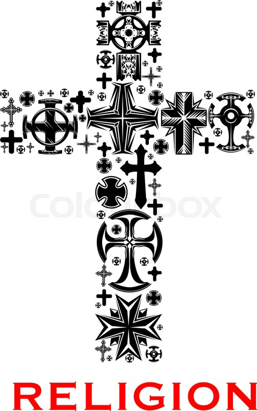 Cross Black Silhouette Composed Of Christian Celt Catholic And