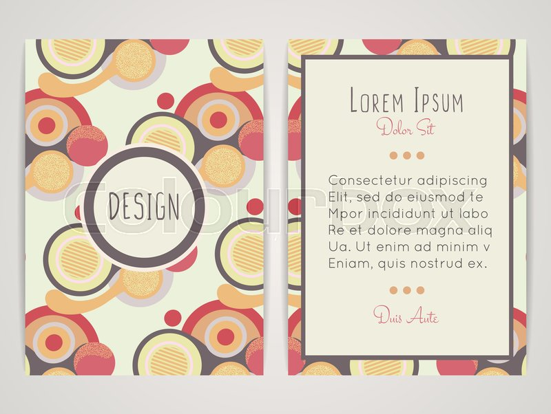 Cover design with abstract geometric pattern colorful round shapes colorful round shapes color flat circles retro style brochure invitation flyer card or book cover size a4 vector illustration eps10 vector stopboris Choice Image