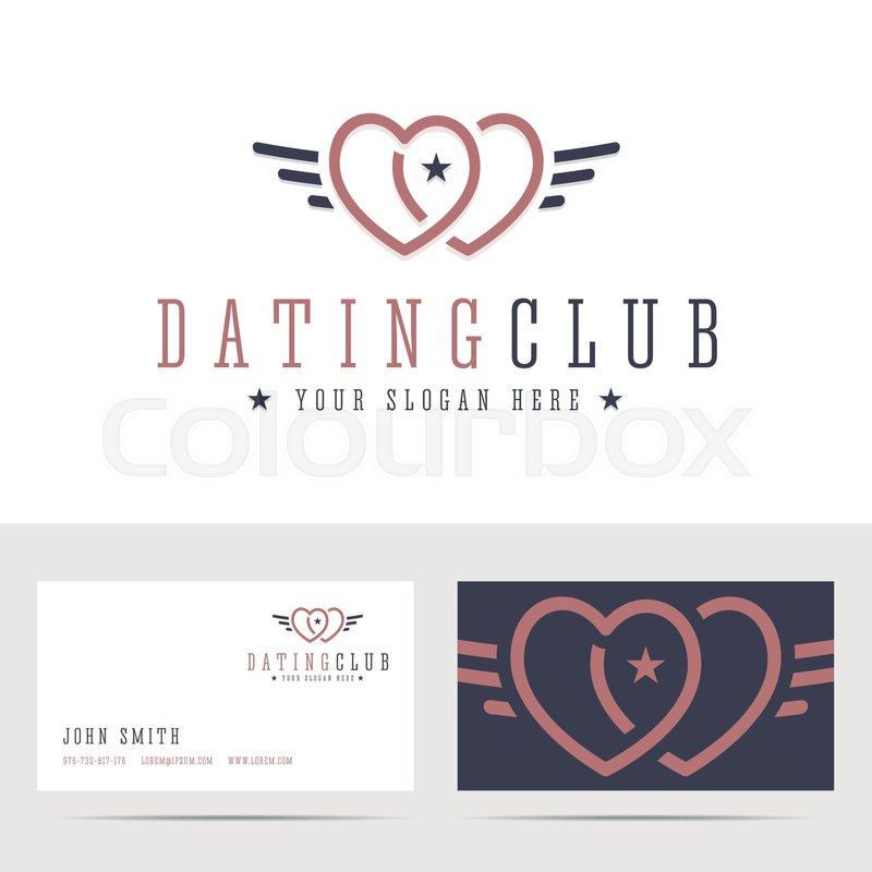 Dating Club Logo And Business Card Template Two Hearts Sign With