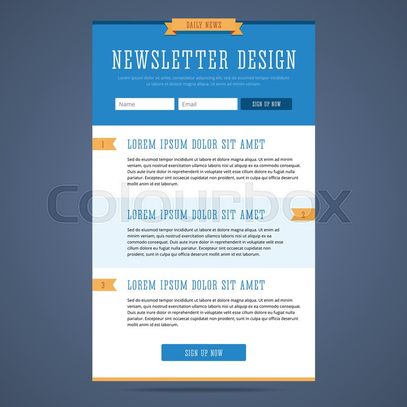 Newsletter Page Design Web Design For Stock Vector Colourbox