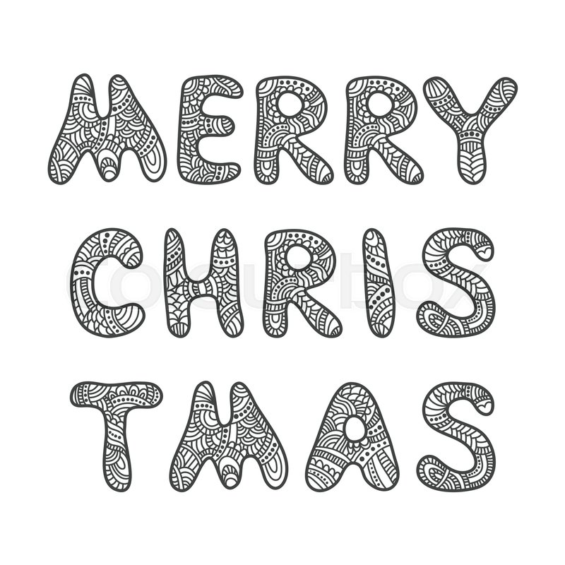 merry christmas lettering greeting card vector doodle hand drawn letters adult coloring book vector