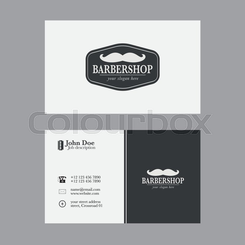 Abstract Elegant Barber Shop Business Card Template. | Stock Vector ...