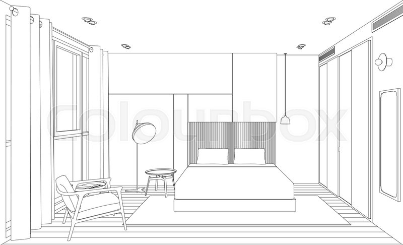 line sketch of the interior bedroom perspective sketch view of room with bed stock vector. Black Bedroom Furniture Sets. Home Design Ideas