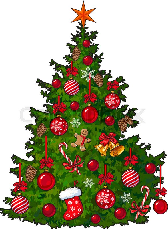 Colorful Christmas Tree Vector.Beautifully Decorated Christmas Tree Stock Vector