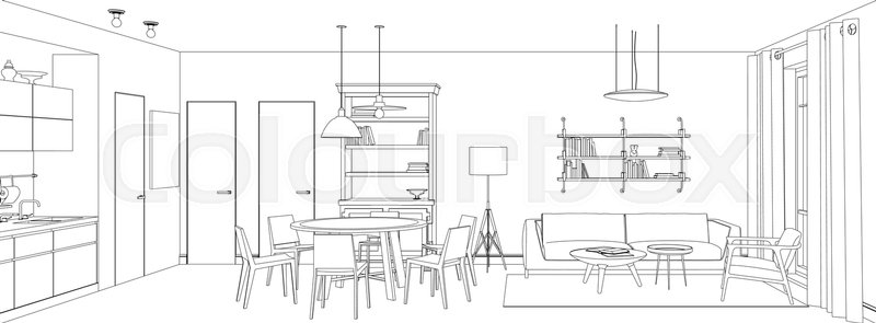 Line Sketch Of The Interior Living Stock Vector Colourbox