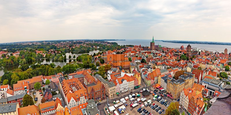 Stock image of 'panoramic view of Stralsund from top of Saint Marys church'