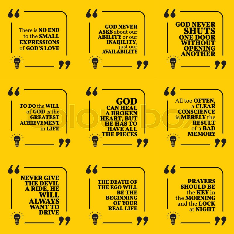 Set of motivational quotes about God,     | Stock vector