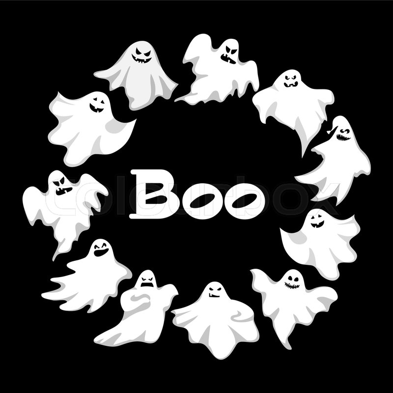Cartoon spooky ghost character vector wreath spooky and scary cartoon spooky ghost character vector wreath spooky and scary holiday monster design ghost character costume evil silhouette ghost character creepy funny publicscrutiny Images
