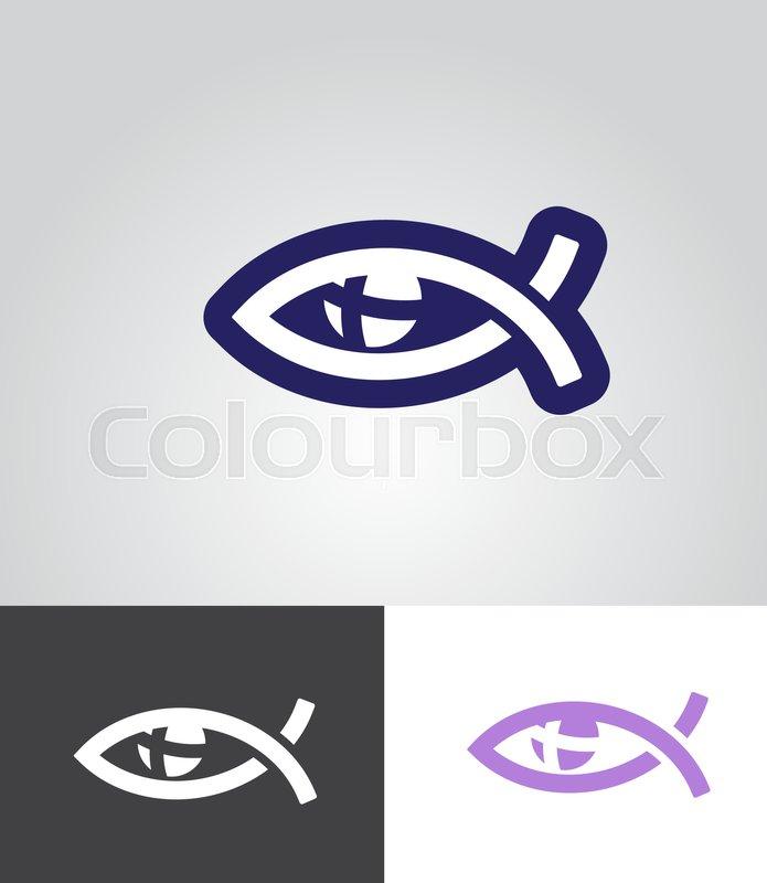 Christian Fish As Eye Symbol With Cross In Eyeball As Christian