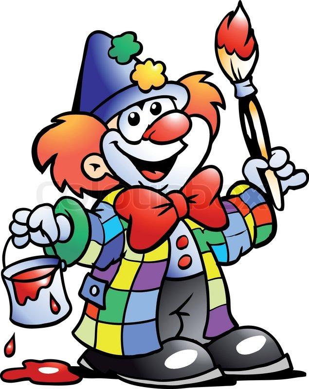 Hand gezeichnet vektor illustration von einem gem lde for Clown schminken bilder