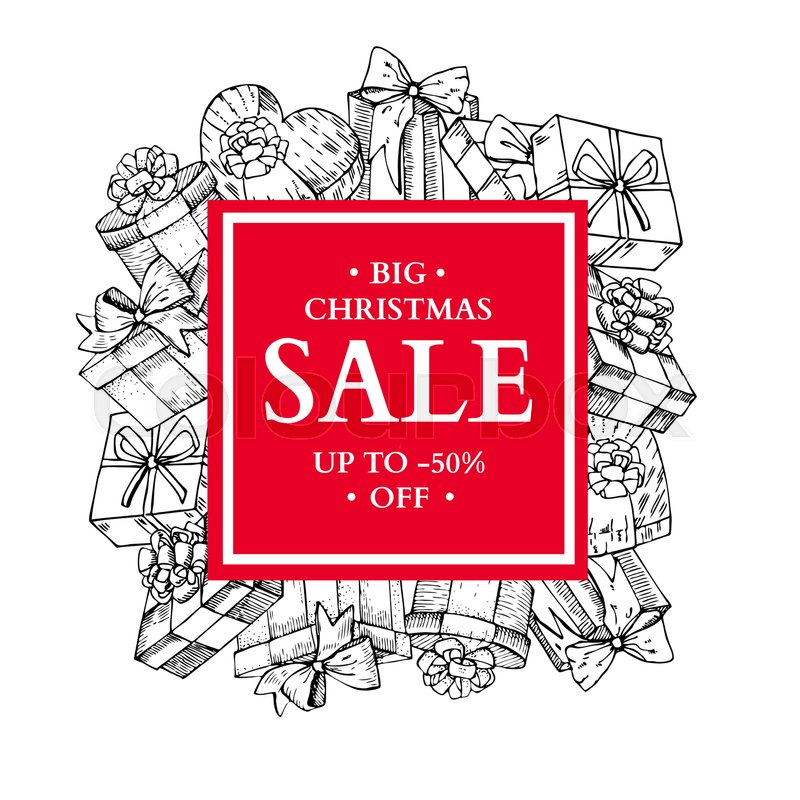 Christmas sale banner. Hand drawn vector holiday frame with gift ...