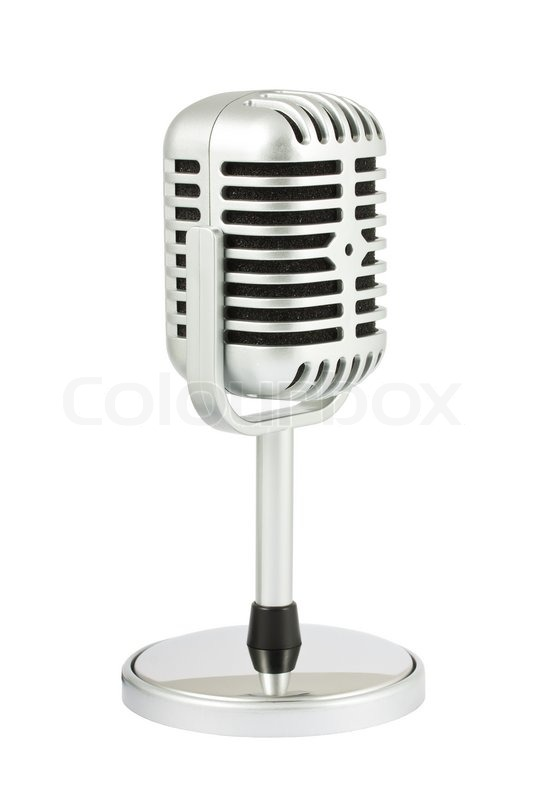 Retro microphone with stand isolated on white background ... Retro Microphone With Stand