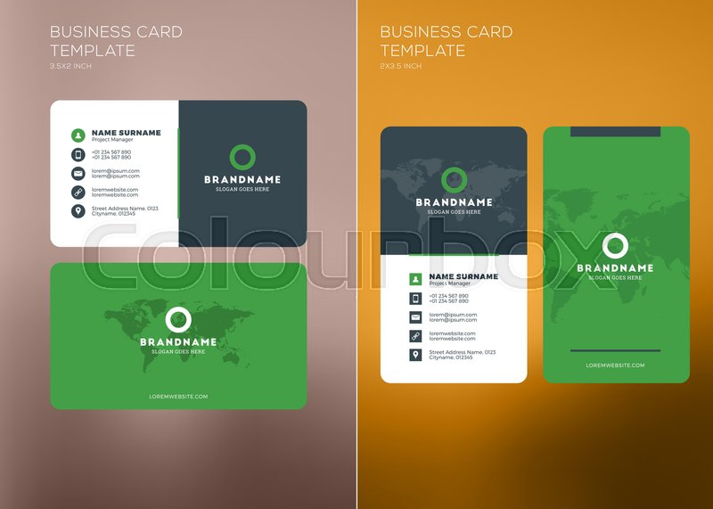 Corporate business card print template personal visiting card with corporate business card print template personal visiting card with company logo vertical and horizontal business card templates black and green color wajeb Gallery