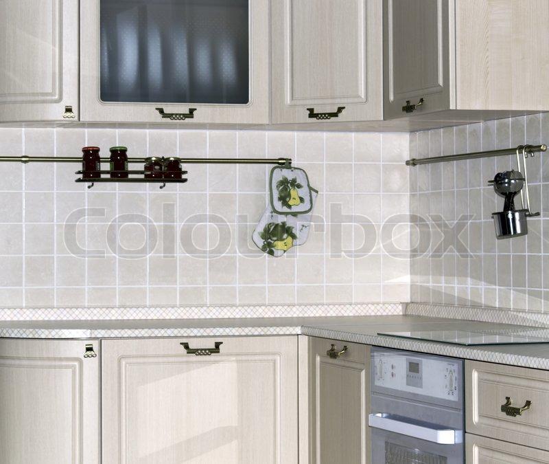 Helle Innenraum Mit Küchenschränke Und ...