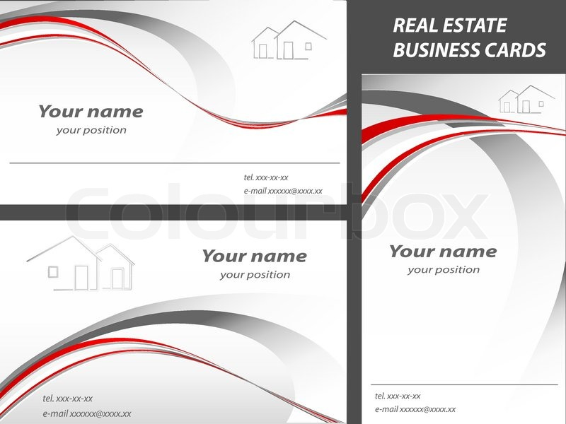Vector business cards for real estate or construction company ...