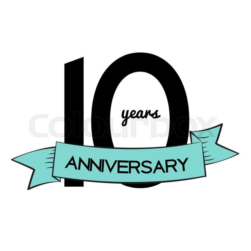 Template Logo 10 Years Anniversary Vector Illustration Eps10 Stock