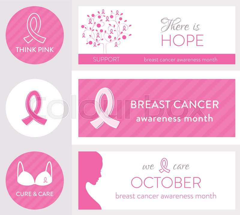 Breast Cancer Awareness Month And Pink Ribbon Symbols And Signs Set