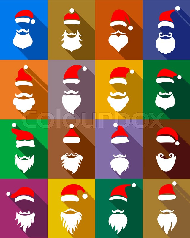 6a5b555d266 Stock vector of  Christmas masks with beards set and hats for New Year Santa  in