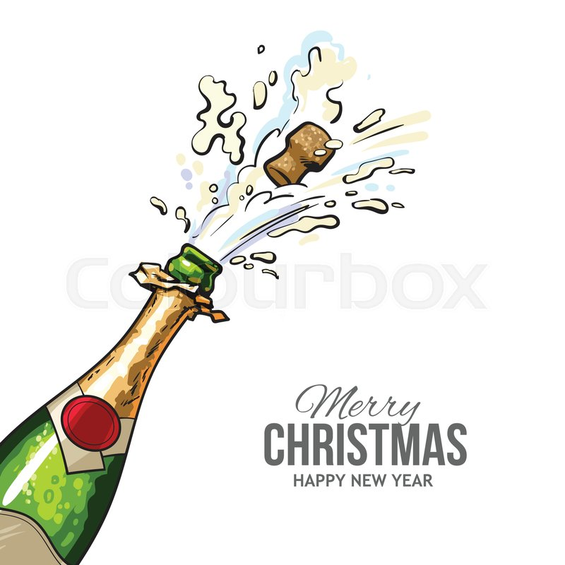 christmas greeting card with cork popping out of champagne bottle