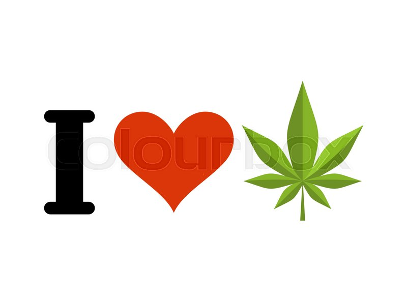 I Love Drugs Heart And Marijuana Leaf Emblem For Fans To Smoke