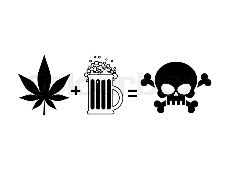 Alcohol And Drugs Is Death Mug Of Beer And Marijuana Leaf Is Equal