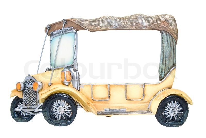 frame of foto as toy car on white background stock photo