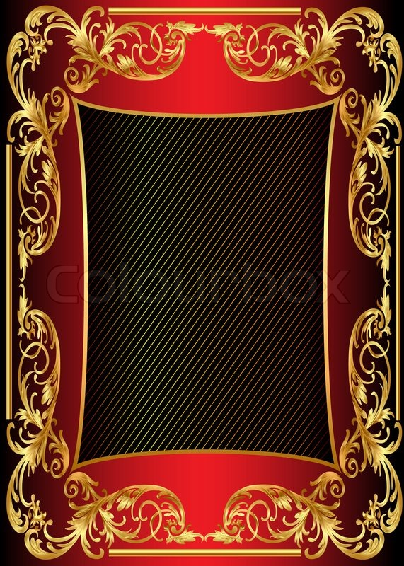 Illustration background frame with gold pattern | Stock ...
