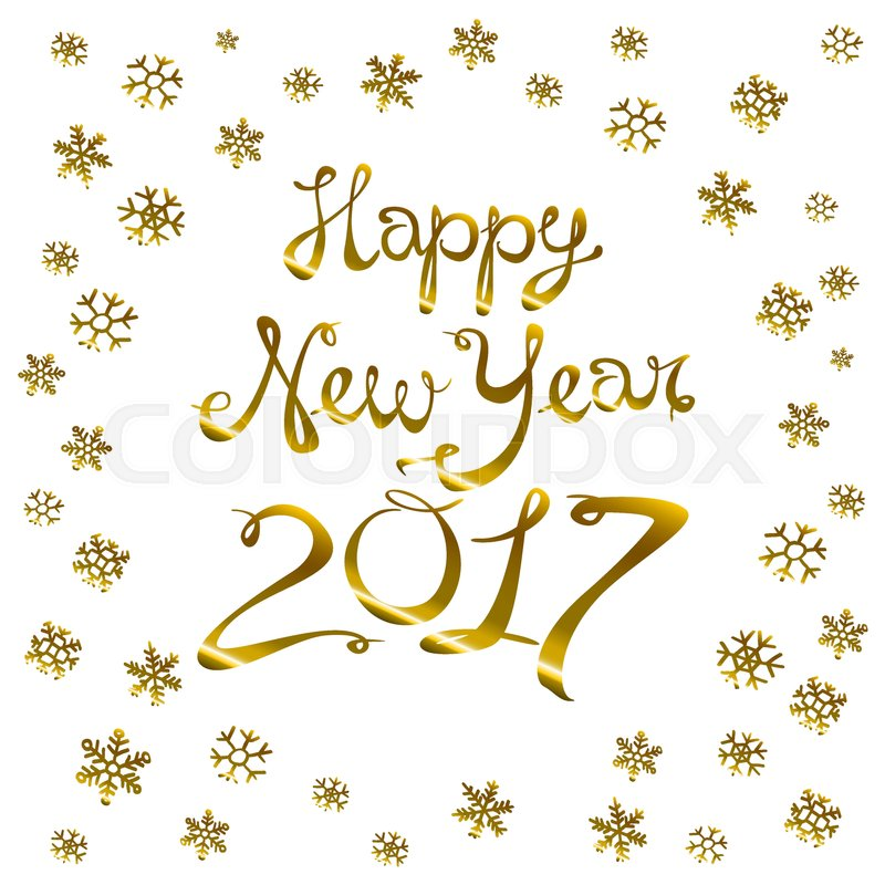 happy new year card gold template over black background with golden sparks happy new