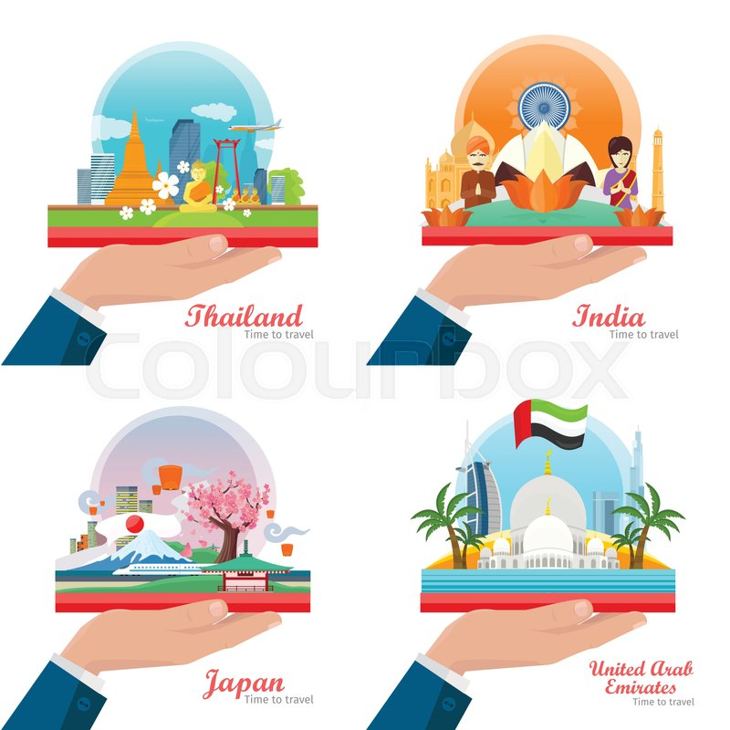 Time to Travel. Welcome to Japan, Thailand, India, United Arab Emirates. Set of traveling advertisement banners on the outstretched hand. Landmarks of the well known asian places of interest. Vector, vector