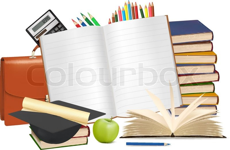 Stock vector of 'Back to school. Notepad with school supplies. Vector.'