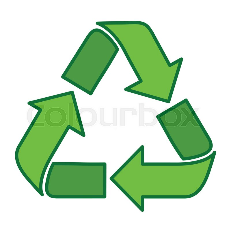 Recycle Symbol Green Logo Web Icon Flat Vector Illustration Stock