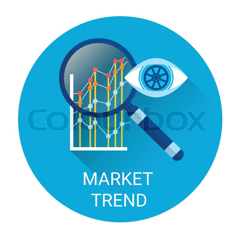 Market Trends: Market Trend Icon Financial Graph With Magnifier Flat