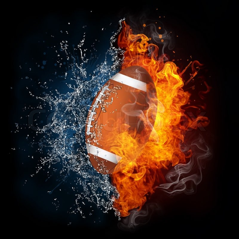 Football Ball In Fire And Water. Computer Graphics