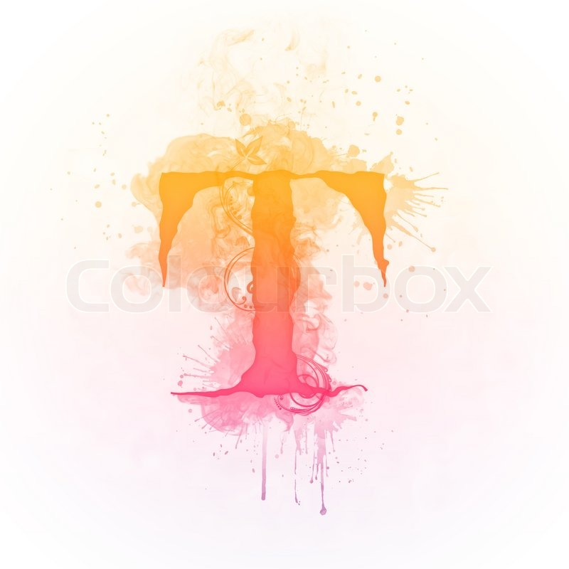 Sunny Swirl Letter T Isolated On White Background Computer Design