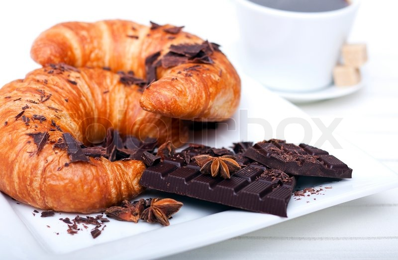 French Breakfast Coffee With Croissant Stock Image