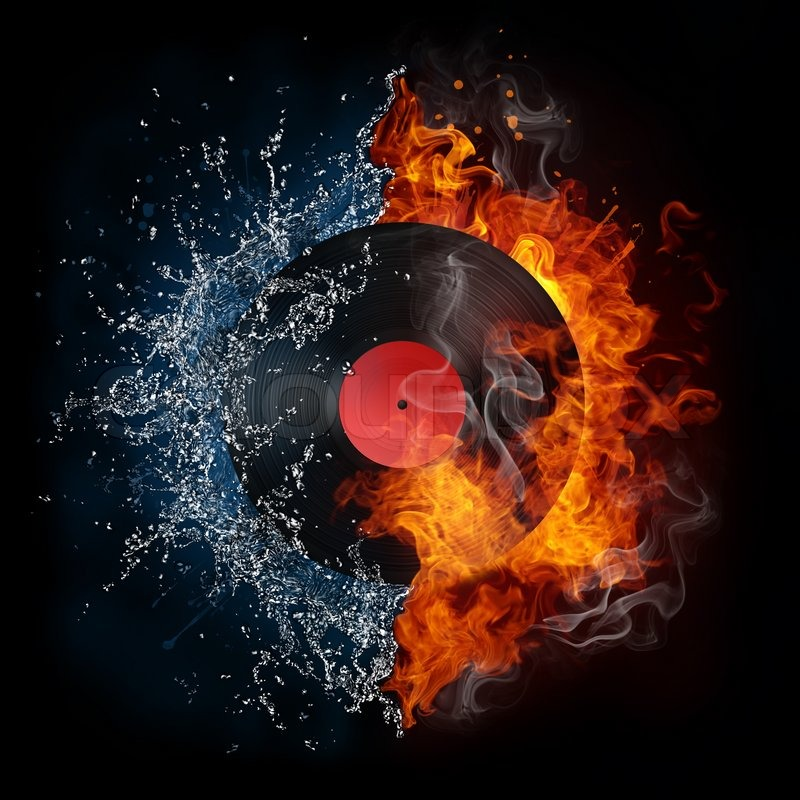 Record In Fire And Water Computer Stock Photo