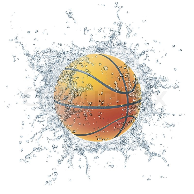 Stock image of 'Basketball Ball in Water Isolated on White Background. 2D Graphics. Computer Design.'