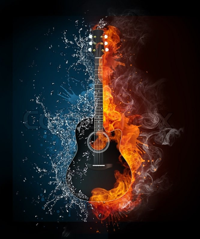Electric Guitar On Fire And Water Isolated Black Background Computer Graphics