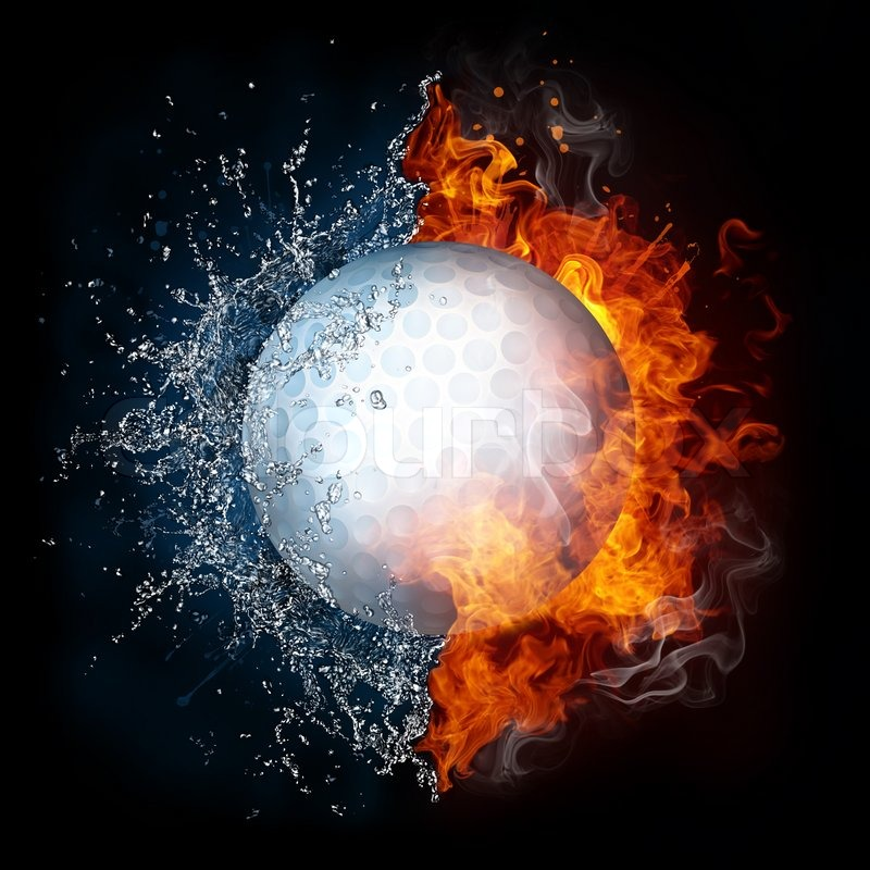 Golf Ball in fire and water isolated on     | Stock image | Colourbox