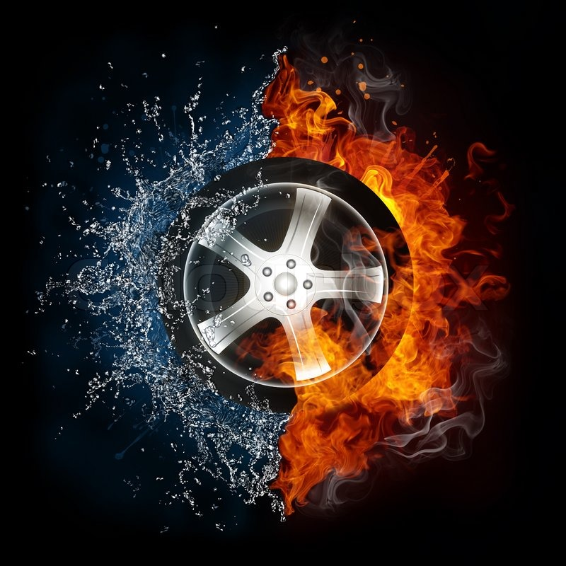 Coolest Sports Cars Burning Tiers: Car Wheel In Fire And Water Isolated On Black Background